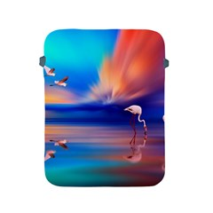 Flamingo Lake Birds In Flight Sunset Orange Sky Red Clouds Reflection In Lake Water Art Apple Ipad 2/3/4 Protective Soft Cases