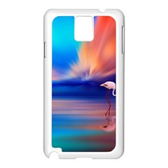 Flamingo Lake Birds In Flight Sunset Orange Sky Red Clouds Reflection In Lake Water Art Samsung Galaxy Note 3 N9005 Case (white)