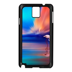 Flamingo Lake Birds In Flight Sunset Orange Sky Red Clouds Reflection In Lake Water Art Samsung Galaxy Note 3 N9005 Case (black)