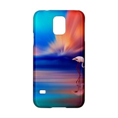 Flamingo Lake Birds In Flight Sunset Orange Sky Red Clouds Reflection In Lake Water Art Samsung Galaxy S5 Hardshell Case