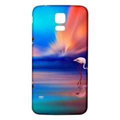 Flamingo Lake Birds In Flight Sunset Orange Sky Red Clouds Reflection In Lake Water Art Samsung Galaxy S5 Back Case (white)