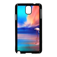 Flamingo Lake Birds In Flight Sunset Orange Sky Red Clouds Reflection In Lake Water Art Samsung Galaxy Note 3 Neo Hardshell Case (black)