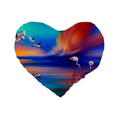 Flamingo Lake Birds In Flight Sunset Orange Sky Red Clouds Reflection In Lake Water Art Standard 16  Premium Flano Heart Shape Cushions