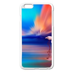Flamingo Lake Birds In Flight Sunset Orange Sky Red Clouds Reflection In Lake Water Art Apple Iphone 6 Plus/6s Plus Enamel White Case