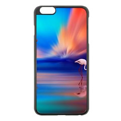 Flamingo Lake Birds In Flight Sunset Orange Sky Red Clouds Reflection In Lake Water Art Apple Iphone 6 Plus/6s Plus Black Enamel Case