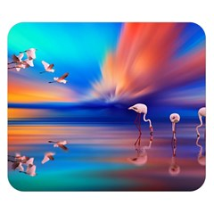 Flamingo Lake Birds In Flight Sunset Orange Sky Red Clouds Reflection In Lake Water Art Double Sided Flano Blanket (small)