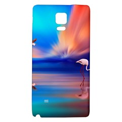 Flamingo Lake Birds In Flight Sunset Orange Sky Red Clouds Reflection In Lake Water Art Galaxy Note 4 Back Case