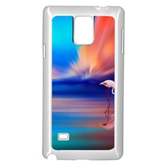 Flamingo Lake Birds In Flight Sunset Orange Sky Red Clouds Reflection In Lake Water Art Samsung Galaxy Note 4 Case (white)