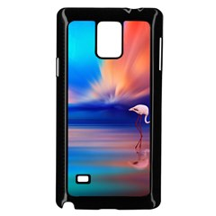Flamingo Lake Birds In Flight Sunset Orange Sky Red Clouds Reflection In Lake Water Art Samsung Galaxy Note 4 Case (black)