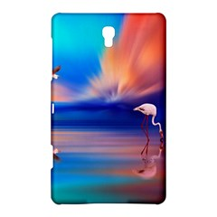 Flamingo Lake Birds In Flight Sunset Orange Sky Red Clouds Reflection In Lake Water Art Samsung Galaxy Tab S (8 4 ) Hardshell Case