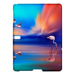 Flamingo Lake Birds In Flight Sunset Orange Sky Red Clouds Reflection In Lake Water Art Samsung Galaxy Tab S (10 5 ) Hardshell Case