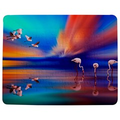 Flamingo Lake Birds In Flight Sunset Orange Sky Red Clouds Reflection In Lake Water Art Jigsaw Puzzle Photo Stand (Rectangular)