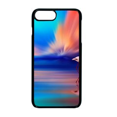 Flamingo Lake Birds In Flight Sunset Orange Sky Red Clouds Reflection In Lake Water Art Apple Iphone 7 Plus Seamless Case (black)