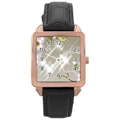 Floral Delight Rose Gold Leather Watch