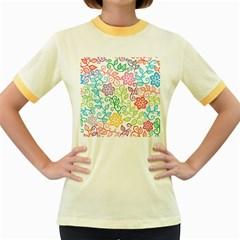Texture Flowers Floral Seamless Women s Fitted Ringer T Shirts