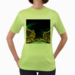 Galaxy Hotel Macau Cotai Laser Beams At Night Women s Green T Shirt