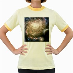 Galaxy Star Planet Women s Fitted Ringer T Shirts