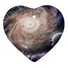Galaxy Star Planet Heart Ornament (two Sides)