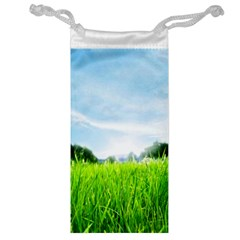 Green Landscape Green Grass Close Up Blue Sky And White Clouds Jewelry Bag