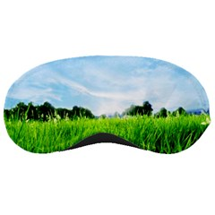 Green Landscape Green Grass Close Up Blue Sky And White Clouds Sleeping Masks