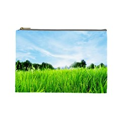 Green Landscape Green Grass Close Up Blue Sky And White Clouds Cosmetic Bag (large)