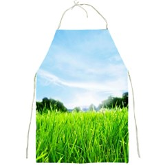 Green Landscape Green Grass Close Up Blue Sky And White Clouds Full Print Aprons