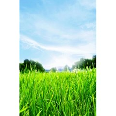 Green Landscape Green Grass Close Up Blue Sky And White Clouds 5 5  X 8 5  Notebooks