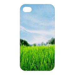 Green Landscape Green Grass Close Up Blue Sky And White Clouds Apple Iphone 4/4s Hardshell Case