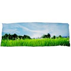 Green Landscape Green Grass Close Up Blue Sky And White Clouds Body Pillow Case Dakimakura (two Sides)