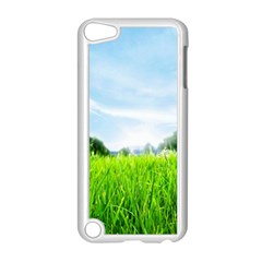 Green Landscape Green Grass Close Up Blue Sky And White Clouds Apple Ipod Touch 5 Case (white)
