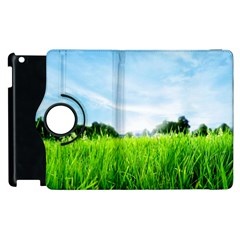 Green Landscape Green Grass Close Up Blue Sky And White Clouds Apple Ipad 3/4 Flip 360 Case