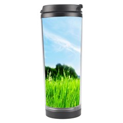 Green Landscape Green Grass Close Up Blue Sky And White Clouds Travel Tumbler