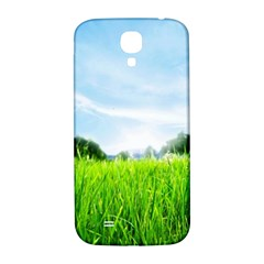 Green Landscape Green Grass Close Up Blue Sky And White Clouds Samsung Galaxy S4 I9500/i9505  Hardshell Back Case