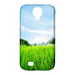 Green Landscape Green Grass Close Up Blue Sky And White Clouds Samsung Galaxy S4 Classic Hardshell Case (pc+silicone)