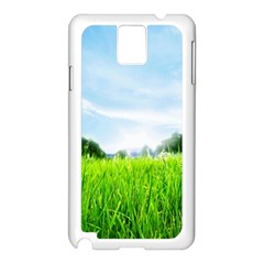 Green Landscape Green Grass Close Up Blue Sky And White Clouds Samsung Galaxy Note 3 N9005 Case (white)