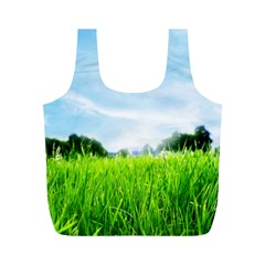 Green Landscape Green Grass Close Up Blue Sky And White Clouds Full Print Recycle Bags (m)