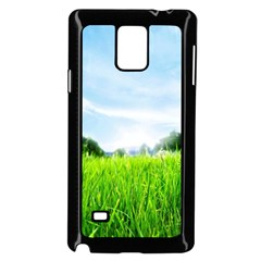 Green Landscape Green Grass Close Up Blue Sky And White Clouds Samsung Galaxy Note 4 Case (black)
