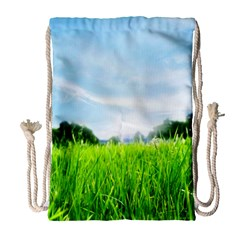Green Landscape Green Grass Close Up Blue Sky And White Clouds Drawstring Bag (large)
