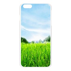 Green Landscape Green Grass Close Up Blue Sky And White Clouds Apple Seamless iPhone 6 Plus/6S Plus Case (Transparent)