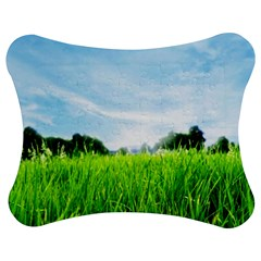 Green Landscape Green Grass Close Up Blue Sky And White Clouds Jigsaw Puzzle Photo Stand (Bow)