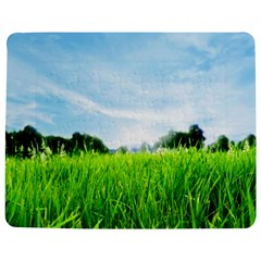 Green Landscape Green Grass Close Up Blue Sky And White Clouds Jigsaw Puzzle Photo Stand (Rectangular)