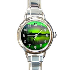 Green Northern Lights Canada Round Italian Charm Watch