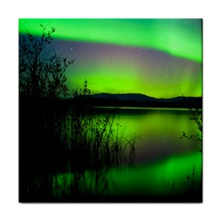 Green Northern Lights Canada Tile Coasters