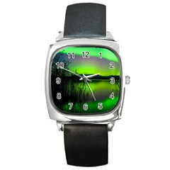 Green Northern Lights Canada Square Metal Watch