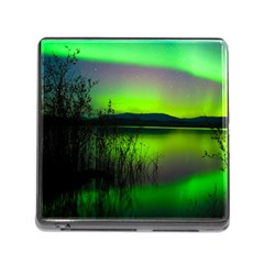 Green Northern Lights Canada Memory Card Reader (square)