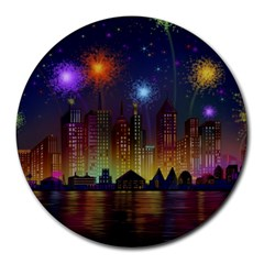 Happy Birthday Independence Day Celebration In New York City Night Fireworks Us Round Mousepads