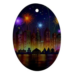 Happy Birthday Independence Day Celebration In New York City Night Fireworks Us Ornament (oval)