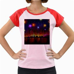 Happy Birthday Independence Day Celebration In New York City Night Fireworks Us Women s Cap Sleeve T Shirt