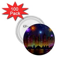 Happy Birthday Independence Day Celebration In New York City Night Fireworks Us 1 75  Buttons (100 Pack)