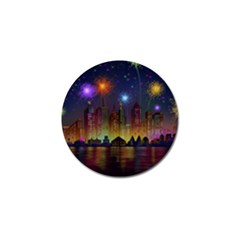Happy Birthday Independence Day Celebration In New York City Night Fireworks Us Golf Ball Marker (10 Pack)